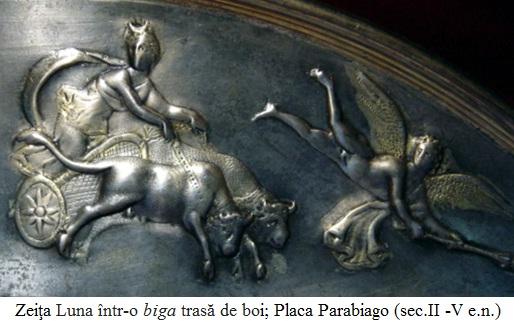 2.6.2.1 Zeiţa Luna într-o biga trasă de o pereche de boi, Placa Parabiago (sec.II -V e.n.)