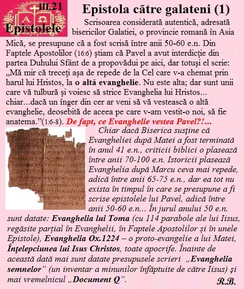 III.21. Epistola către galatieni (1)