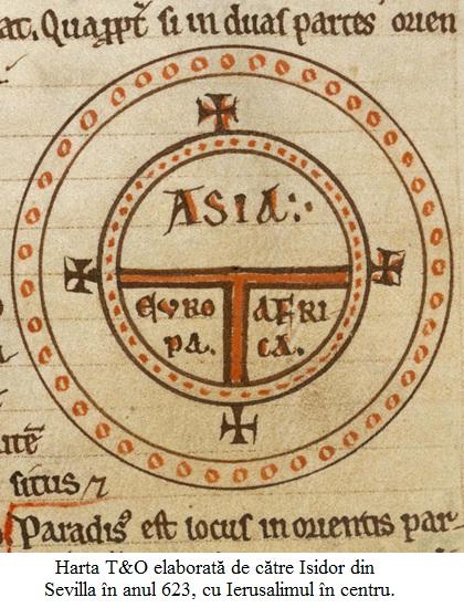 16.3.4.01 Harta T&O elaborată de către Isidor din Sevilla în anul 623, cu Ierusalimul în centru, tipărită în 1472 la Augsburg.