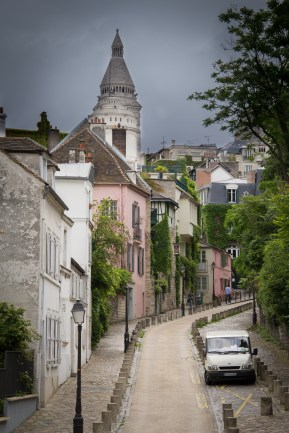 Winding street leading up to Montmartre in Paris