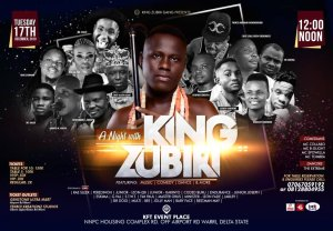 Warri to experience a night with King Zubiri show at KFT on December 17