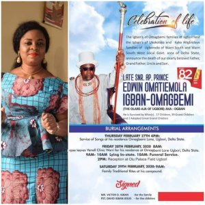 Obituary: Regina Doutimi Set To Pay Last Respect To  Her Boss' Father, Pa Omatiemola in Warri – The Liberator