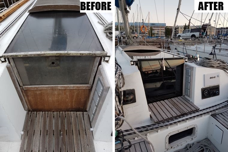 Companionway doors before and after