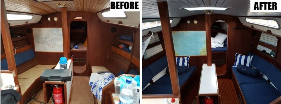 The saloon before and after
