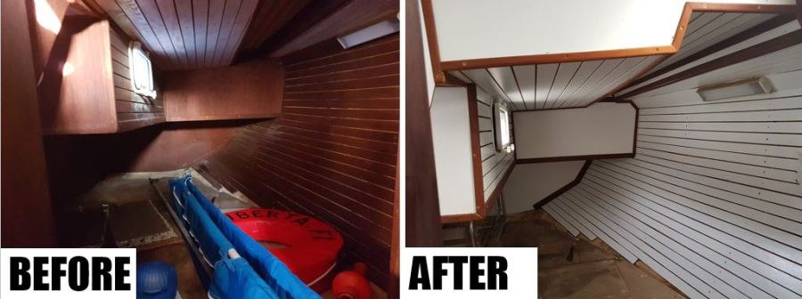 Aft cabin before and after