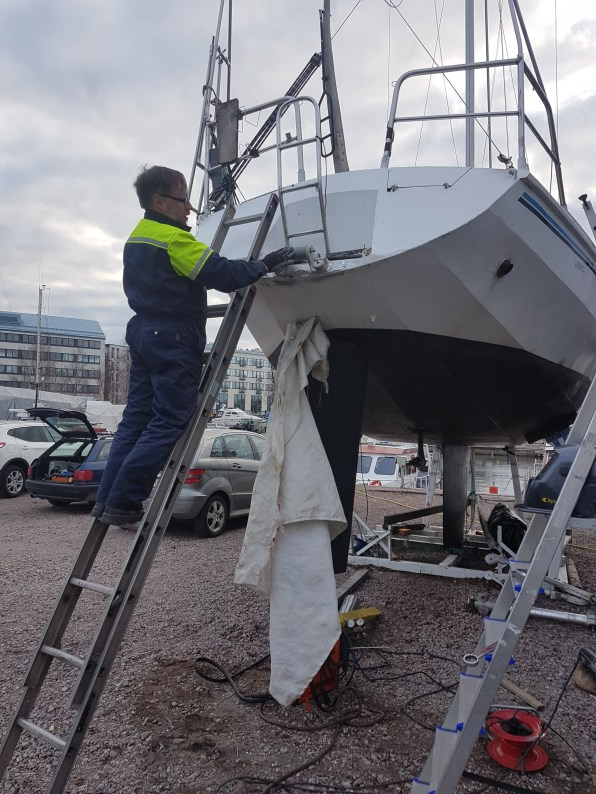 Windvane bracket ready for the installation of the Windpilot Pacific Plus - Liberta.fi
