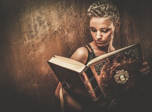 steampunk girl with book - orc change via knowledge
