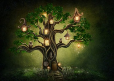 Fantasy tree house in forest Editor leads author there