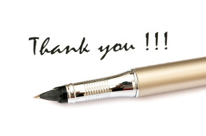 Thank You Message And Pen Isolated On White