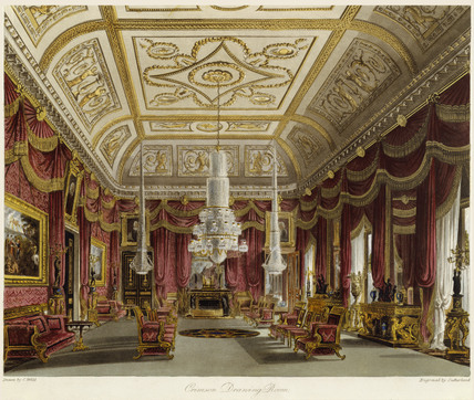 Crimson Drawing Room, Carlton House, print 1819