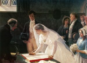 Love match weddings ? Signing the Register