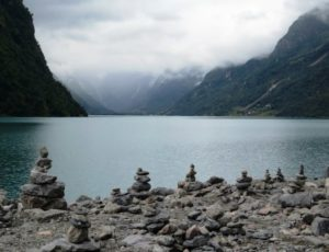 shoreline with host of petrified trolls in Norway