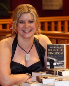fantasy author Kate Johnson with book The Untied Kingdom