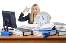 overworked woman struggling with time