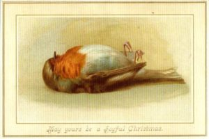 Victorian Christmas card with picture of dead robin
