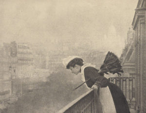 female servants - a Parisian maid in 1906 with brush and lace cap