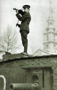 British soldier playing violin on a tank, 1st world war