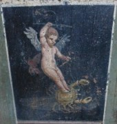 Pompeii wall painting: Cupid riding on a crab