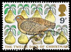 day 1 partridge in a pear tree UK stamp 1977