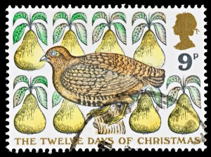 partridge in a pear tree UK stamp 1977