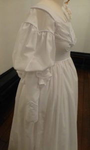 1825 day gown white replica sleeve detail
