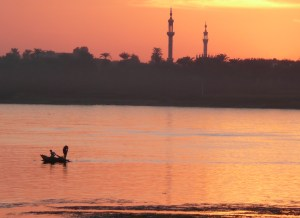 sunset, fisherman at Aswan on Nile