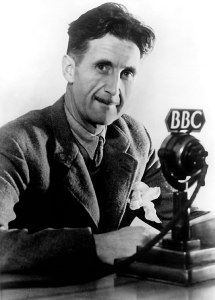 George Orwell with BBC microphone
