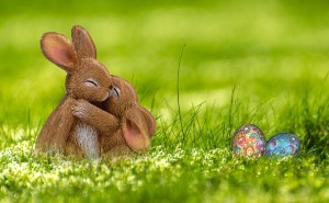 Easter bunnies and eggs