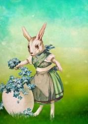 vintage Easter rabbit and egg