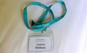 Swanwick newbie white badge for Joanna Maitland