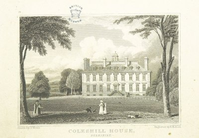 1818 sketch of Coleshill, courtesy British Museum. Built c.1660 it was destroyed by fire mid-20th century.