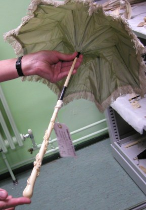 pale pink silk fringed Regency parasol green lining carved handle, Hereford Museum collection