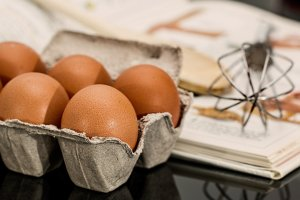 eggs and egg whisk for recipes