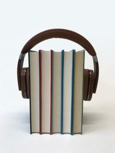 headphones on books, audiobooks