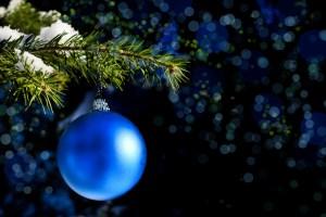 blue ball on Christmas tree branch