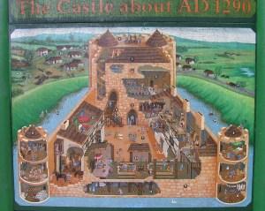 graphic of Caerlaverock Castle c1290