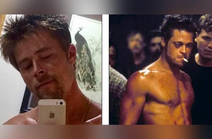 Nathan era albañil hasta que notó su parecido físico con Brad Pitt