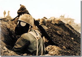 Iranian Soldier with Gas Mask
