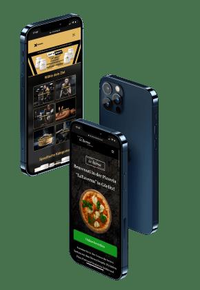Drei Handys mit Referenzen auf dem Bildscirm
