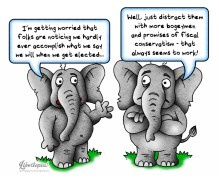 Elephants, GOP, Republican Party, Neoconservatives, cartoon, fiscal conservative, politics, political cartoon, illustration
