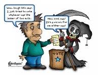 vote, voting, election, cartoon, libertarian, voluntaryist, grim reaper, democrat, republican, lesser of two evils