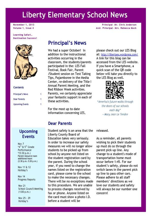 LES Principals Newsletter November Liberty Elementary