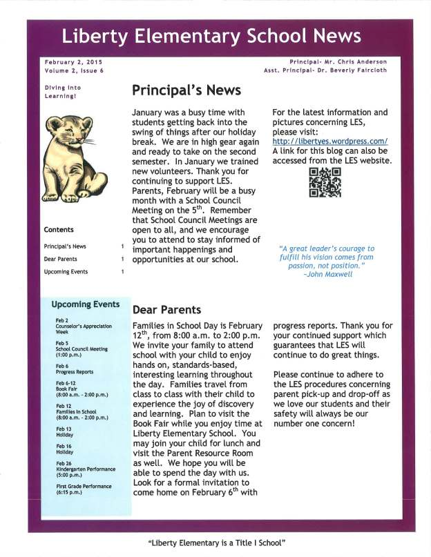 LES Principals Newsletter February 2015 Liberty