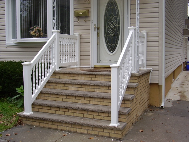Outdoor Pvc Vinyl Railings Handrails Liberty Fence Railing | Handrails For Front Steps | Stair | Brick | Steel | Simple | Contemporary