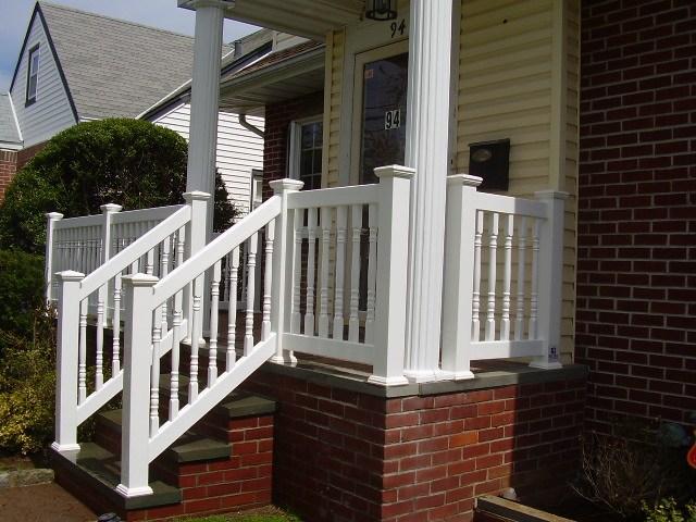 Outdoor Pvc Vinyl Railings Handrails Liberty Fence Railing | Vinyl Railings For Outside Steps | Balusters | Composite | Wood | Precast Concrete Steps | Railing Installation