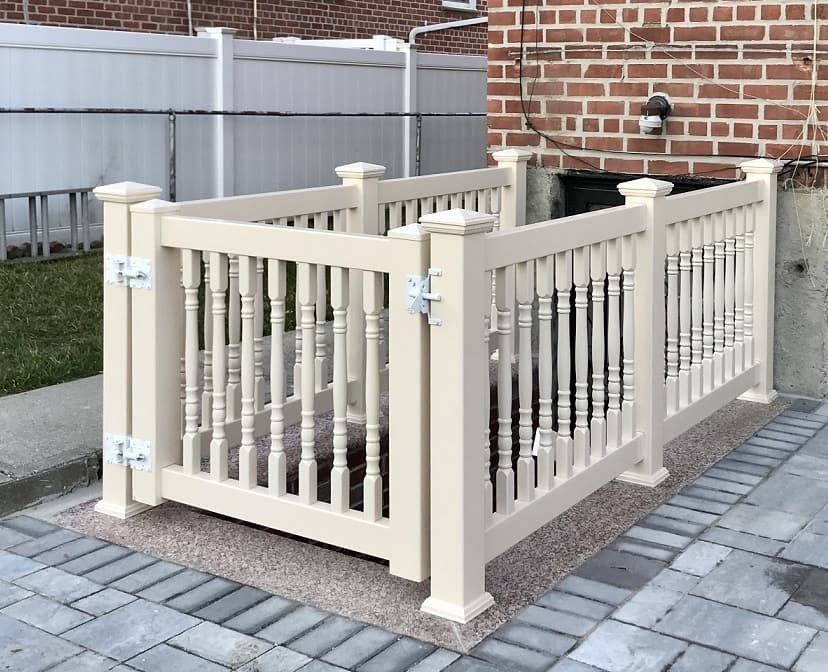 Outdoor Pvc Vinyl Railings Handrails Liberty Fence Railing | Grey Banister White Spindles | Silver | Indoor | Pewter | Gloss | Wrought Iron