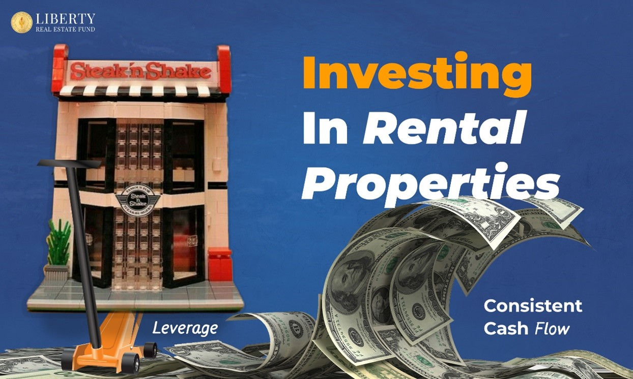 Investing In Rental Properties with Leverage for Consistent Cash Flow showing a wave of dollar bills and a toy restaurant building being jacked up
