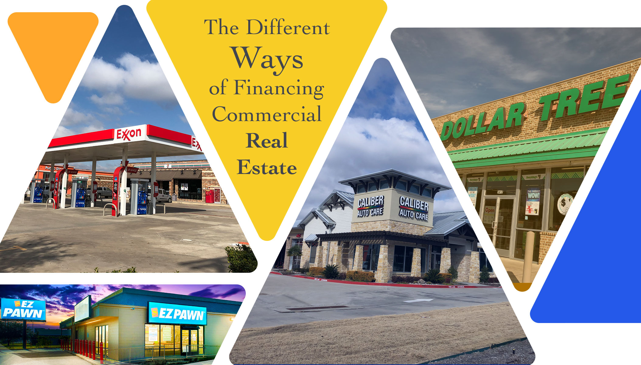 Picture with Different Ways of Financing Commercial Real Estate text and pictures of Exxon gas station and Caliber Automotive and Dollar Tree