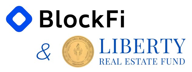 BlockFi logo & Liberty Real Estate Fund logo partnering together for you to invest your monthly real estate income into higher yielding BlockFi deposit accounts