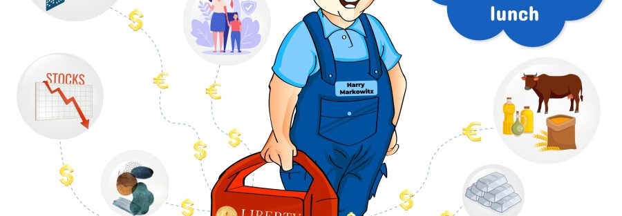 """A graphic showing a worker with a lunchbox in his hand saying the quote by Nobel Prize laureate Harry Markowitz """"DIVERSIFICATION IS THE ONLY FREE LUNCH."""" The man is surrounded by different investment asset classes that are streaming Euros and Dollars into his lunch box showing the benefits of a diversified portfolio. The investments include: Stocks (with arrow going down); Bonds; Bitcoin and Cryptocurrencies; Life Insurance (with holding hands and umbrella over top); Art; Commodities (cow, pig and plant); Gold & silver bars, and Real Estate with biggest picture (office building like in Blockchain Real Estate Summit logo and $ + € symbols flowing into lunch box.the Liberty Real Estate Fund logo on it."""